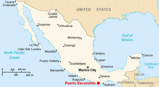 Puerto Escondido, Oaxaca, Mexico, maps and map links