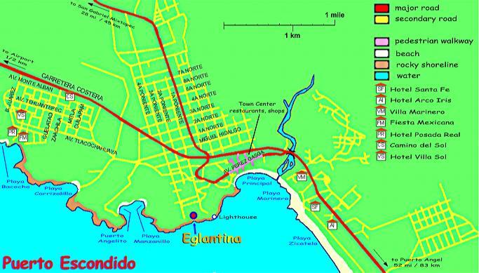 puerto escondido city map