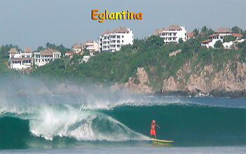 Zicatela surfer with Eglantina condo